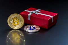 An image with a bitcoin sign. Royalty Free Stock Images