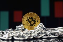 Physical version of Bitcoin new virtual money and chain. Royalty Free Stock Image