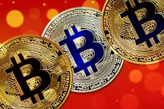 Physical version of Bitcoin new virtual money with colorful effect. Closeup on Physical version of Bitcoin new virtual money with colorful effect Royalty Free Stock Photos