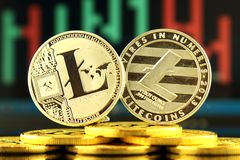 Physical version of Litecoin, new virtual money. Conceptual image for worldwide cryptocurrency and digital payment system called the first decentralized Royalty Free Stock Photos