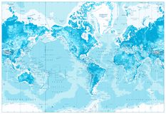 Physical World Map-America Centered Stock Photography