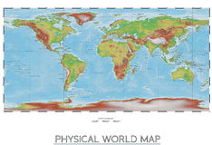 Physical world map Royalty Free Stock Photography