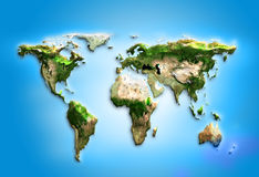 Physical world map illustration. Elements of this Stock Photos