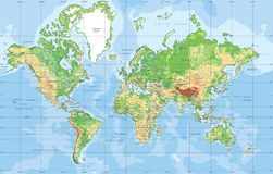 Physical World map in Mercator projection. Physical World map in Mercator projection with clearly labeled, separated layers. Vector illustration vector illustration