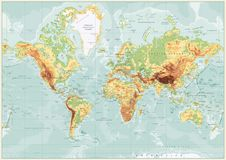 Physical World Map Retro Colors with labeling. Vector illustration Stock Image