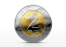 Cryptocurrency Physical Coin. A physical zcash cryptocurrency in gold and silver coin form on a dark studio background- 3D render Royalty Free Stock Images