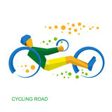 Physically disabled cyclist. Cycling road for people Royalty Free Stock Image