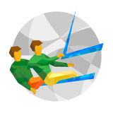 Physically disabled sailors with abstract patterns. Flat sport i Stock Photos