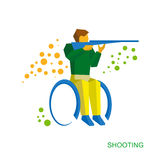 Physically disabled shooter. Flat wheelchair sport icon. Royalty Free Stock Photo