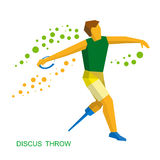 Physically disabled sportsman throwing discus. Flat sport  icon. Royalty Free Stock Photo
