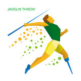 Physically disabled sportsman throwing javelin. Flat sport  icon Royalty Free Stock Photos