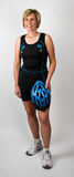 Physically Fit Senior Baby Boomer Women. In Triathlon Workout Clothes and Bike Helmet Royalty Free Stock Photos