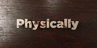 Physically - grungy wooden headline on Maple  - 3D rendered royalty free stock image Royalty Free Stock Photo