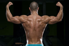 Physically Man Showing His Well Trained Back Royalty Free Stock Photography