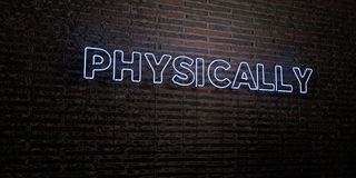PHYSICALLY -Realistic Neon Sign on Brick Wall background - 3D rendered royalty free stock image Stock Photo