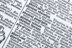 Physician. Dictionary look up of the word physician royalty free stock image