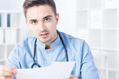 Physician and bad news Royalty Free Stock Image