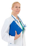 Physician with blue clipboard Stock Images