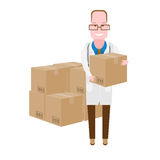Physician with boxes Royalty Free Stock Images