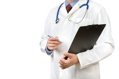 Physician with clipboard and pen Stock Photo