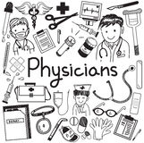 Physician doctor and other medic professions doodle icon. Physician doctor and other medic professions doodle cartoon icons of people medicines tools sign and stock illustration
