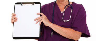 Physician Holding Clipboard. Over White Background Stock Photo