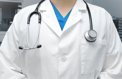 Physician man in scrubs with stethoscope Stock Image