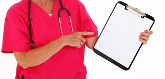 Physician Pointing At Clipboard Stock Photos