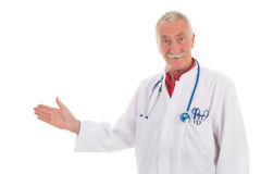 Physician presenting something on white background Stock Images
