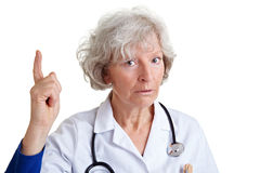 Physician scolding with index Royalty Free Stock Images