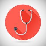 Physician Therapist Care Survey Symbol Stethoscope. Icon on Stylish Background Modern Flat Design Vector Illustration stock illustration
