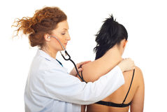 Physician woman examine patient Stock Photo