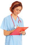 Physician woman write prescription Royalty Free Stock Image