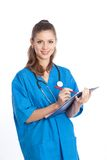 Physician writing. Physician with stethoscope writing. Isolated over white background Stock Photography