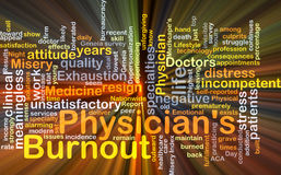 Physician's burnout background concept glowing Stock Images