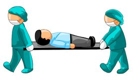 Physicians carrying a businessman on a stretcher Stock Photography