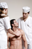 Physicians emergency with the patient Royalty Free Stock Photography