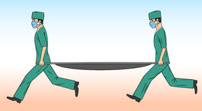 Physicians with a stretcher. Stock Photography