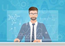 Physicien barbu d'homme faisant la formule de graphiques sur l'illustration de vecteur d'ordinateur Technologie de physique illustration stock