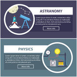 Physics and astronomy banners. concept of scientific equipment, work space Stock Image