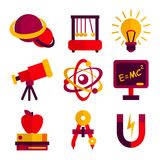 Physics and Astronomy Icons Set Stock Photography