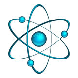 Physics atom model with electrons. Vector atom. Illustration of model with electrons and neutron isolated on white background Stock Photo