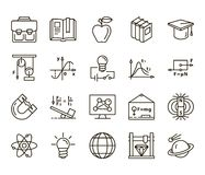 Physics. back to school. Set of linear icons on a white background Stock Photo