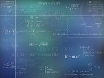 Physics background. A background of physics formulas and diagrams in blue stock illustration