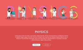 Physics Banner. Science Alphabet. Stock Image