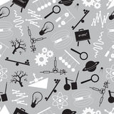 Physics black and white seamless pattern Royalty Free Stock Images