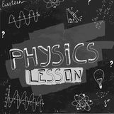 Physics blackboard image. The illustration of beautiful black scientific background with chalk handwriting. Physical class blackboard. Totally vector fully Stock Images