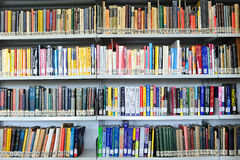 Physics books background in library Royalty Free Stock Image