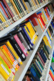 Physics books on shelves Stock Photo