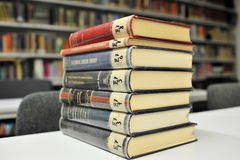 Physics books on the table in library Royalty Free Stock Image